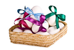 Basket with eggs, on a white Royalty Free Stock Photos