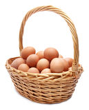 Basket with eggs on a white background Royalty Free Stock Photos