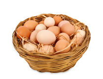Basket with eggs Stock Image