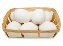 Basket with eggs Stock Photo