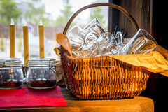 Basket with empty glasses Stock Photo