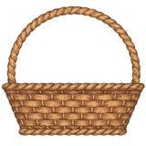 Basket. Empty woven basket isolated on white background Stock Photos