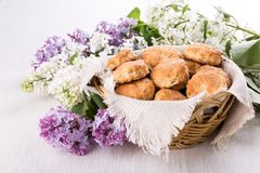 Basket with English Scones stock photos