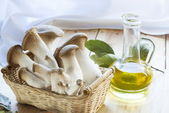 Basket with eryngii mushrooms, olive oil and ingredients for cooking on the wooden table of the kitchen background Royalty Free Stock Photos