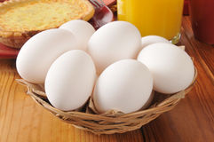 Basket of farm fresh eggs Royalty Free Stock Photography