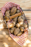 Basket or farm fresh potatoes Stock Image