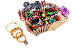 A basket of  fashion accessories  of woman Royalty Free Stock Photo