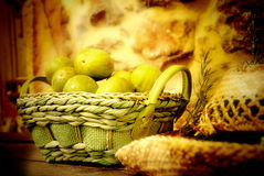 Basket of figs and straw hat Royalty Free Stock Photos