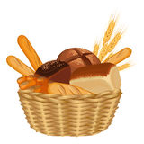 Basket filled with baked goods realistic style illustration on white. Basket filled with baked goods realistic style isolated vector illustration on white stock illustration