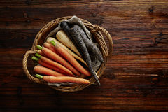 Basket filled with carrots Royalty Free Stock Image
