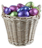 Basket filled with chocolate eggs Stock Photography