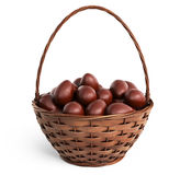 Basket filled chocolate eggs. Easter 3D, isolated stock image