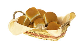 Basket filled with dinner rolls stock photos