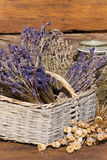 Basket filled with dried lavender bunches Stock Photography