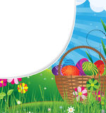 Basket filled with eggs  on the meadow Royalty Free Stock Photo