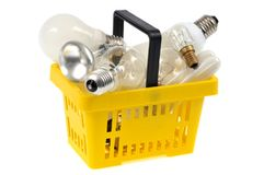 Basket filled with electric bulbs royalty free stock images