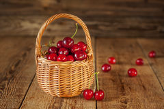 A basket filled with fresh red cherries Royalty Free Stock Images
