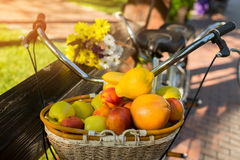 Basket filled with fruits. stock photo