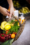 Basket filled healthy food. Supermarket: basket filled healthy food Royalty Free Stock Images