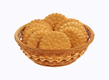 Basket Filled Vanilla Flavored Cookies Royalty Free Stock Photography