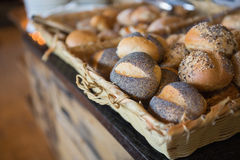 Basket filling with delicious bread Royalty Free Stock Photography