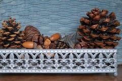 Basket with fir cones, cones enupar and acorn Royalty Free Stock Photos
