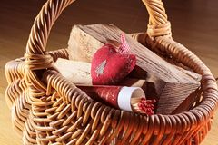 Basket of firewood Stock Image