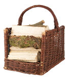 Basket with firewood Royalty Free Stock Photos