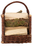 Basket with firewood Stock Images