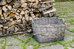 Basket of firewood Stock Images