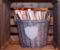 Basket with firewood Stock Photo