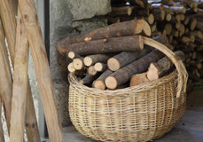 Basket of firewood Stock Photography