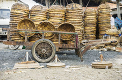 Basket of fisherman at Long Hai fish market Stock Photo