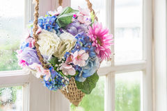 Basket of flower hanging on window Stock Images
