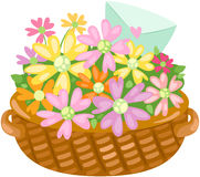 Basket of flower with love letter Stock Photography