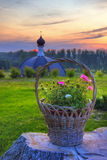 Basket of flowers. In the monastery in Kirzhach, Russian Federation Royalty Free Stock Photos