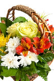 Basket with flowers. Close up flower basket white isolated Royalty Free Stock Images