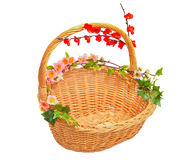 Basket with flowers. A basket with spring flowers stock photo
