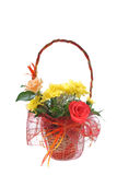 Basket with flowers. Isolated on white background Royalty Free Stock Images