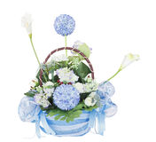 Basket of flowers. Beautiful flowers in basket isolated on white background Stock Photography