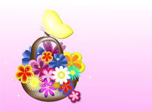 Basket of flowers. Card with a basket of flowers and butterflies Royalty Free Stock Photography
