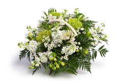 Basket with flowers. On white Royalty Free Stock Photos