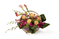 Basket of flowers. Deluxe edition basket of flowers royalty free stock photo