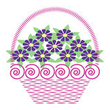 Basket Of flowers. Basket of different flowers decorated with swirls Royalty Free Stock Image