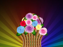 Basket of flowers on abstract background Stock Images