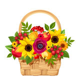 Basket with flowers, apples and berries. Vector illustration. Royalty Free Stock Images