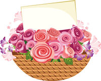 Basket of flowers with a card Stock Photo