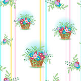 Basket with flowers5-01. Cute wicker basket with colored flowers and leaves on a white, background.Seamless pattern for spring and summer.Floral vector Stock Images