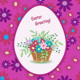Basket with flowers easter-01. Greeting Easter card design of beautiful wicker basket full of flowers.White Easter egg floral on a bright pink background.Spring Royalty Free Stock Photos
