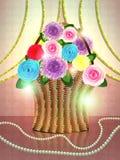Basket of flowers on holiday background royalty free illustration